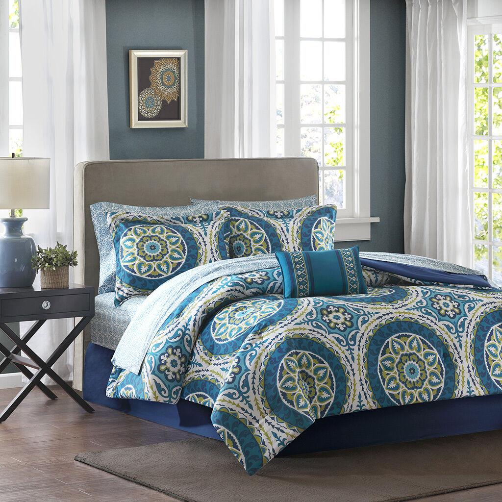 BEAUTIFUL MODERN Blau TEAL AQUA Grün TROPICAL BOHEMIAN  COMFORTER SET & SHEETS