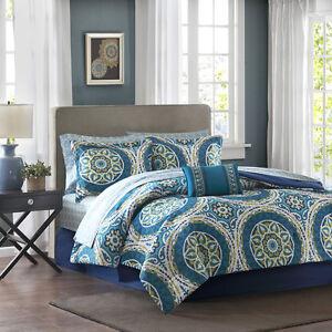 BEAUTIFUL MODERN BLUE TEAL AQUA GREEN BOHEMIAN GLOBAL COMFORTER SET /& SHEETS