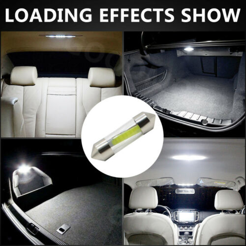 10x 41MM Durable Car COB LED C5W Interior Glass Lens Festoon Dome Reading Light