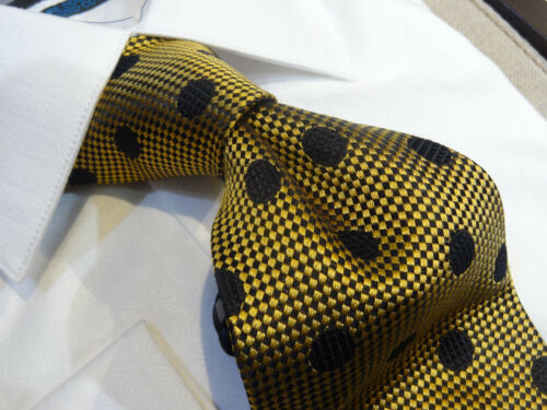Dona Dona Silk Tie Necktie Gold Black diamond check black polka dot