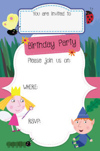 Boygirl ben and hollys little kingdom birthday party invites bh1 image is loading boy girl ben and holly 039 s little stopboris Choice Image