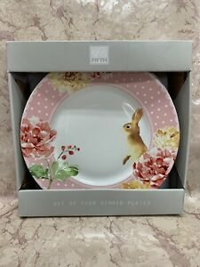222-Fifth-LEANNA-Set-of-4-EASTER-Bunny-Pink-Polka-Dot-Dinner-Plates-NEW