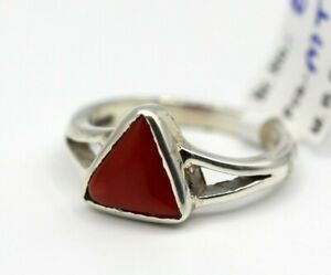 Gemstone Ring With Natural Trillion Coral 3.15 Ct 925 Silver Plated Jewelry