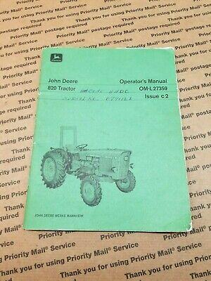 John Deere 820 Tractor Original Owners Operators Manual