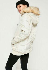 Cream Hood Missruid Bomber 8 Fur Parka Faux Topshop 6 Size Ruched Jacket Zara cUX7qTTE