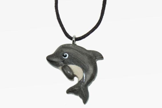 Kette Delfin Holzanhänger Ketten Modeschmuck Holzkette Delfine Delphin neu