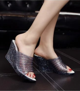 Women-Open-Toe-Hollow-Wedge-Heel-Sandals-Breathable-Jelly-Crystal-Slip-on-Shoes