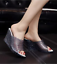 Women-Open-Toe-Hollow-Wedge-Heel-Sandals-Breathable-Jelly-Crystal-Slip-on-Shoes thumbnail 1