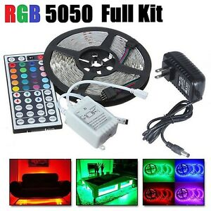 5M-RGB-5050-LED-Strip-light-SMD-44-Key-Remote-12V-US-Power-Full-Kit