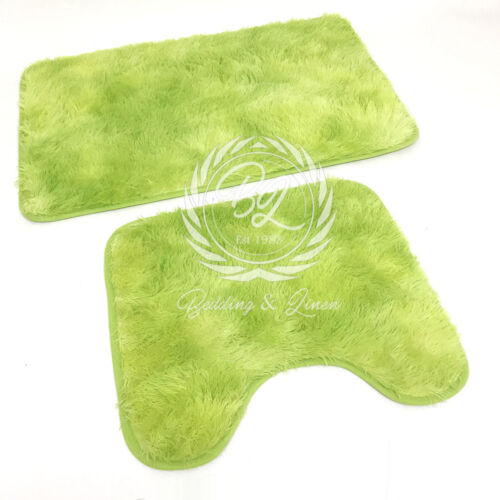 Bath Pedestal Mat Set 2PC Luxury Non Slip Bathroom Plush Shaggy Soft Rugs Set