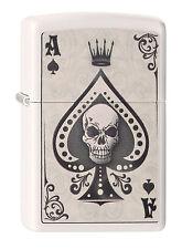 ZIPPO Feuerzeug ACE SKULL CARD White matte Totenkopf Spielkarte  NEU OVP