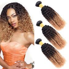 3 Bundles Ombre Brazilian Virgin Curly Hair Afro Kinky Curly Weave Human Hair