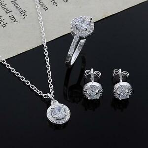 Womens-925-Silver-Plated-Crystal-Necklace-Earring-Ring-Set-Jewelry-Gift-n