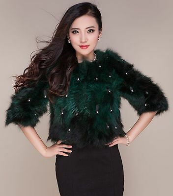 new women's real genuine raccoon fur short coat jacket outerwear 3/4 sleeve