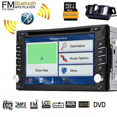 Double 2DIN In Dash GPS Navi Car DVD Player Bluetooth Auto Stereo Radio USB+CAM