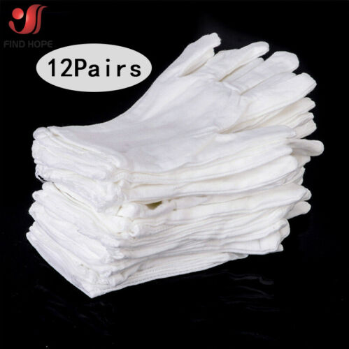 1//6//12Pairs Unisex White Inspection Cotton Work Disposable Glove Protective Work