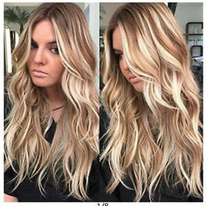Womens Curly Long Hair Full Wig Synthetic Natural Long Wavy Ombre