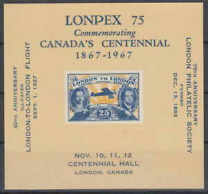 Canada-1927-CLP6-London-to-London-Airmail-facsimile-1967-Souvenir-reproduction