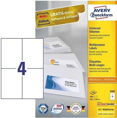 400 Versand-Etiketten 105 x 148,5 mm Aufteilung wie Zweckform 3483 6120 6124