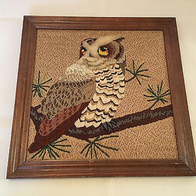 Vintage Needlework Embroidered Yarn Art Handmade Framed Picture Owl 16X16