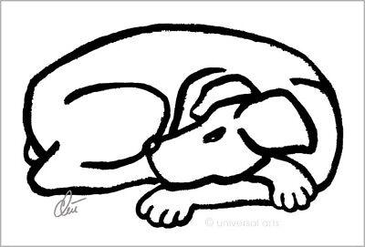 JACQUELINE DITT - Dog Black Original Druck Grafik signiert Bilder Hund Kunst