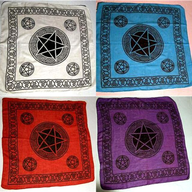 "Pentagram Celtic Scarf - Alter Cloth 40"" x 40"" 100% Cotton-  Wicca Pagen"