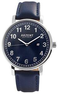 Akzent-Herrenuhr-Blau-Analog-Datum-Metall-Kunstleder-Armbanduhr-X2900188001