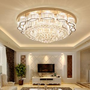 Details about K9 Crystal Chandelier Flush Mount Luxury Modern Ceiling Lamp  for Living Room Bar