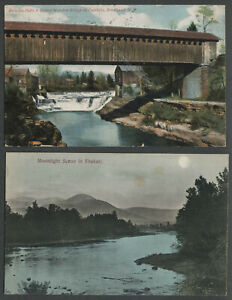 Olive-NY-Two-1906-07-Postcards-BRODHEAD-COVERED-BRIDGE-FALLS-CREEK-Now-Gone