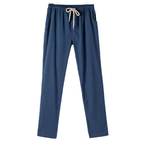 Summer Men/'s Fashion Cotton Linen Trousers Solid Loose Slacks Casual Pants M-3XL