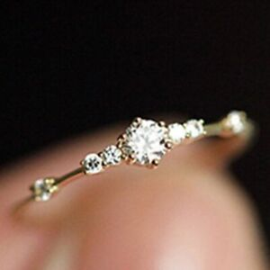 Exquisit-Kristall-Ringe-Damen-Gold-Silber-Strass-Hochzeit-Verlobungsring-Schmuck