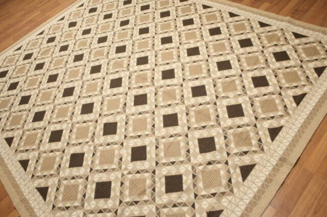 8' x 10' Hand woven French Needlepoint Aubusson Area rug flat pile 8x10 Beige