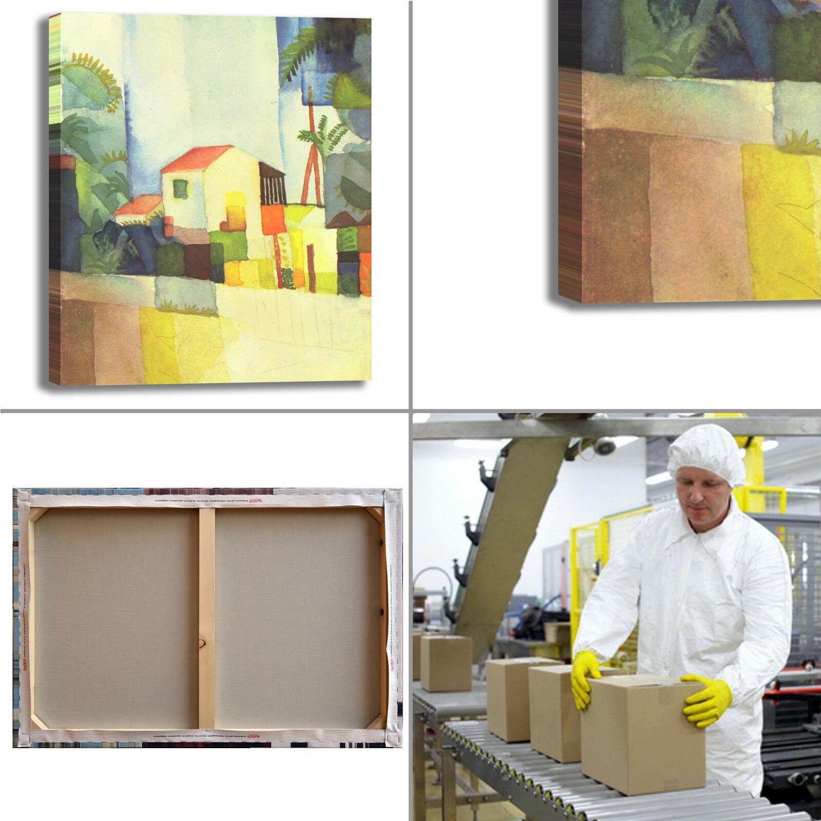 Macke casa tela luminosa design quadro stampa tela casa dipinto telaio arRouge o casa ec70e3