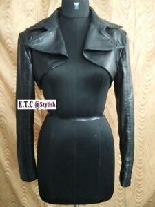 66adc943350 Womens   Girls 100%Genuine Lambskin Leather Crop Moto Bolero Shrug ...