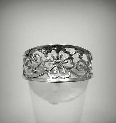 STERLING SILVER RING SOLID 925 FLOWER BAND SIZE 3.5 - 11 EMPRESS R001240