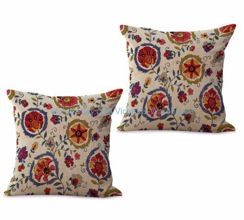US SELLER-set of 2 retro  floral cushion cover pillow throw decor