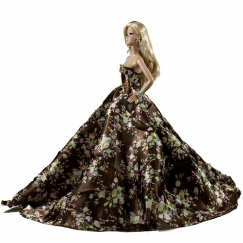 Peregrine Brown Floral Silk Ball Gown for 11.5 inches Doll
