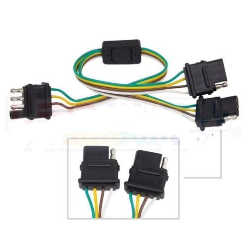 Way Flat Trailer 4 Pin Extension Harness for Tailgate Light Bar Y-splitter 4
