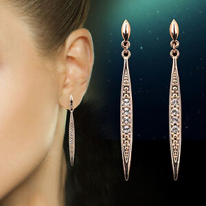 Silver-Rose-Gold-Plated-Stud-Long-Drop-Dangle-Earrings-Austrian-Crystal-Bridal