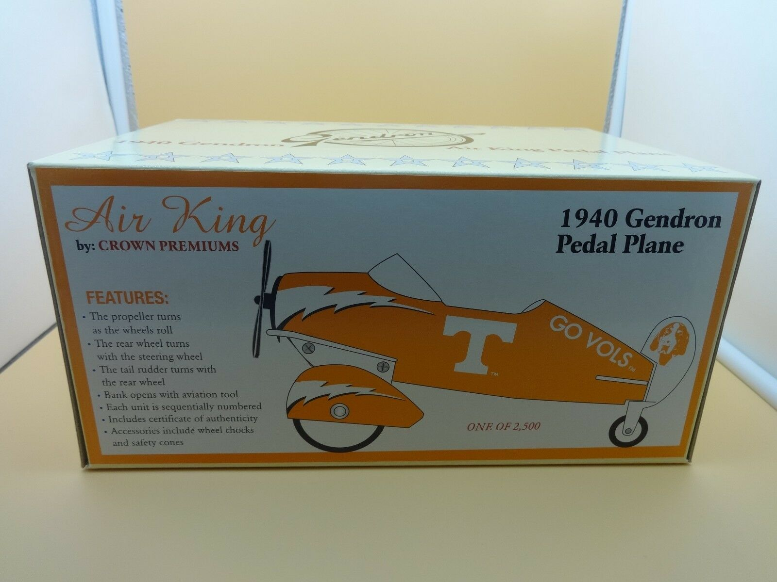 Crown Premiums Tennessee Volunteers Gendron 1940 Air King Pedal Plane - w  box