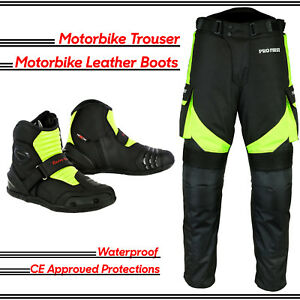 Profirst-Motorbike-Motorcycle-Pant-Waterproof-Trouser-Racing-Shoes-Leather-Boots