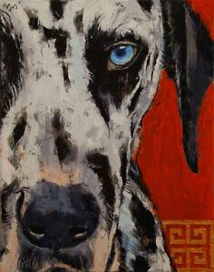 DALMATIAN-11x14-034-Oil-Painting-Dog-Dalmation-Pet-Portrait-Original-Art-M-Creese