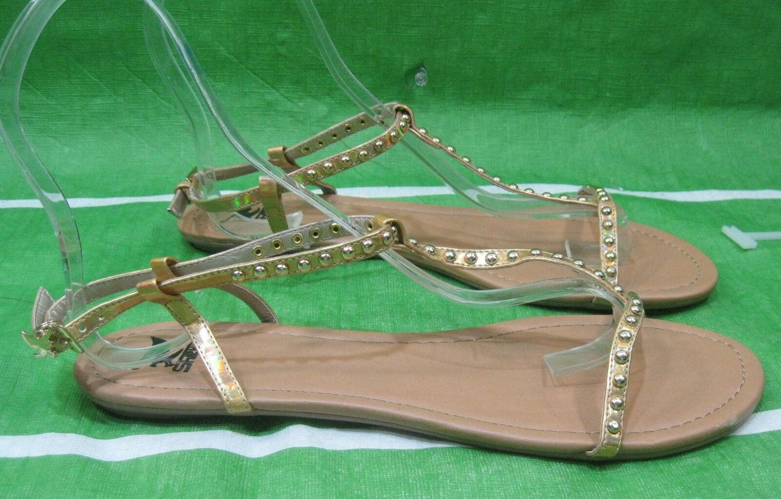 NEW LADIES Summer /Gold Stud Womens Shoes Open Toe 10 Flat Sexy Sandals Size 10 Toe d52d1c