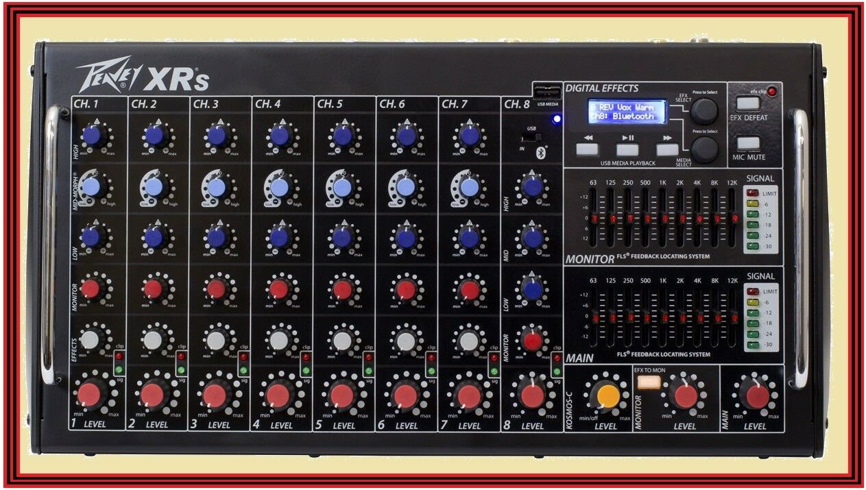 PEAVEY XR XR XR S Rack Mountable Powerot 8 Channel Mixer w Blautooth USB XRS d492f0