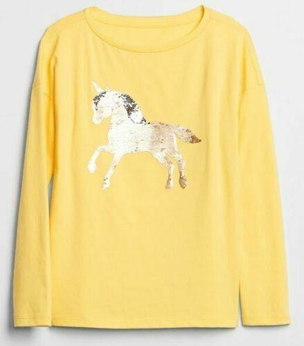 NEW NWT Girls GAP FLIPPY SEQUIN Long Sleeve Yellow T-Shirt GOLD UNICORN Size XXL
