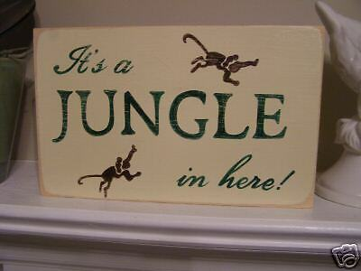 ITS A JUNGLE IN HERE Tropical Animal Room Decor SIGN Hp Wood U Pick Color Plaque