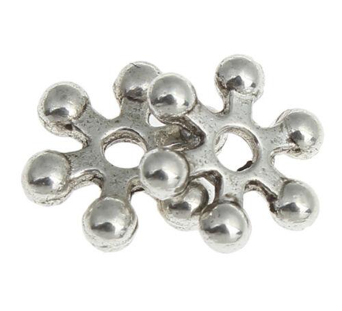 50 abalorios metal plata el Tíbet perlas spacer 8mm copo de nieve joyas Design f128