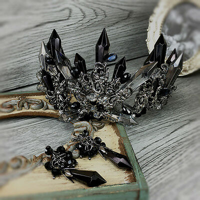 Black Retro Baroque Crystals Bridal Crown Tiara Wedding Bride Hair Accessories