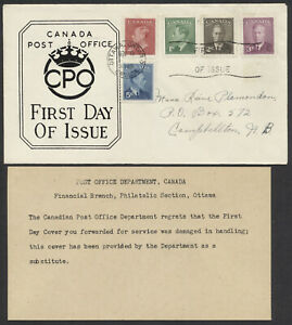 1949 #284-288 GeorgeVI Combo FDC CPO Replacement Cachet with Apology Card Insert