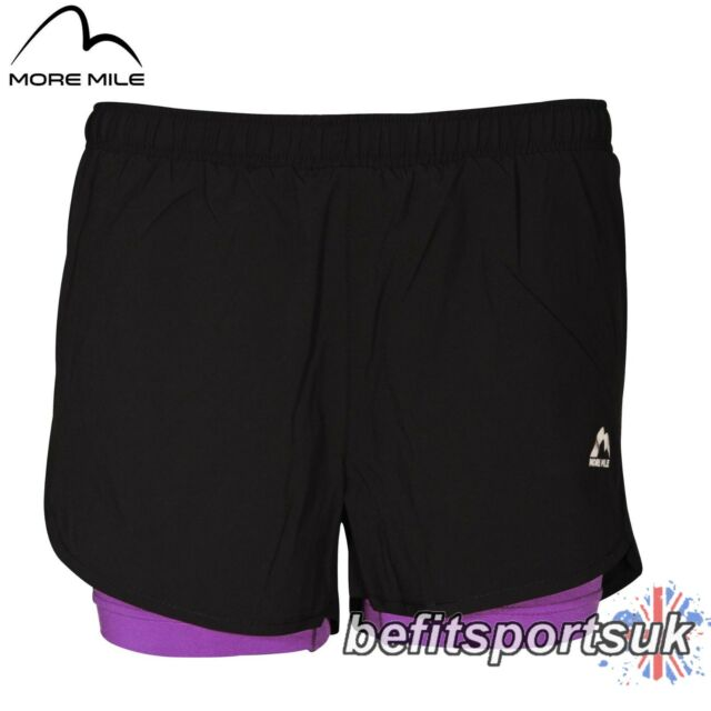 More Mile Womens Ladies 2 in 1 Lowcut Running Short Gym Fitness Rear ... de1e313f9a